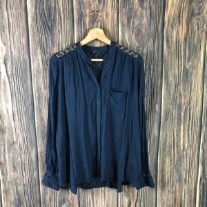 Free people top boho blue long sleeve casual fall